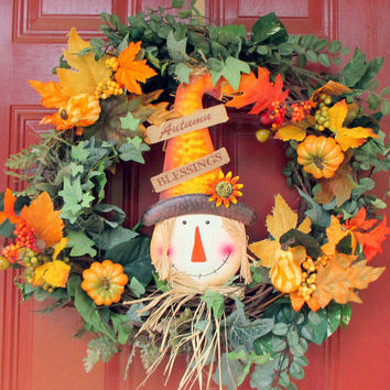 Large-Scarecrow wreath-Fall wreath for the front door-Scarecrow Door Hanger-Autumn-Scarecrow decoration-Whimsical Fall door wreath-Harvest