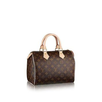 PEAPGQ6 Authentic Women's Vintage Louis Vuitton Speedy 30 Brown Monogram Travel Bag