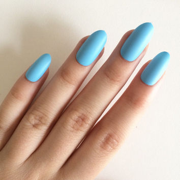 Matte blue oval nails, hand painted acrylic nails, fake nails, false nails, stick on nails, nail art, artificial nails
