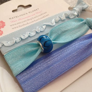 Elastic Hair Ties - Bracelet -Set of 3 - Ponytail Holder - Blue -Trendy Hair Tie - No Pull- No Dent