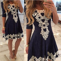 2016 Hot sale lace patchwork mini women elegant dress O-neck half sleeve Heart-shaped pattern casual dresses