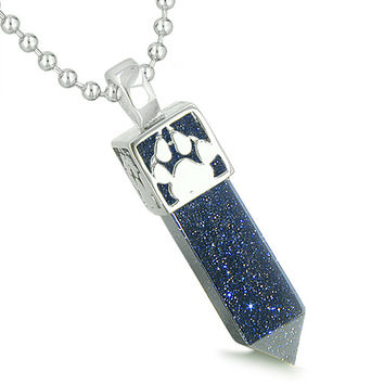 Amulet Reversible Wolf Paw Kanji Blue Goldstone Crystal Crystal Point Pendant 22 Inch Necklace