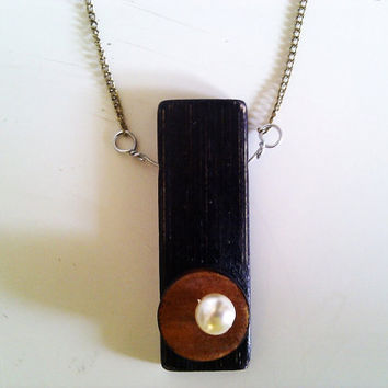 wood necklace pendant on chain by Ayliss on Etsy