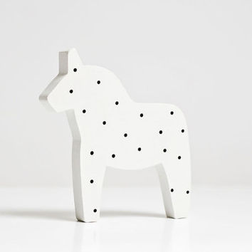 Swedish black and white polka dots dala horse figurine. Wooden, hand painted.