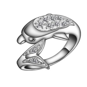 Silver Plated Punk Black Crystal Dolphin Ring