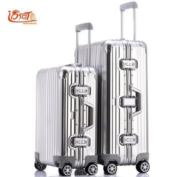 100% fully Aluminum-magnesium alloy travel trolley luggage 20/25 inch female male suitcase carry on luggage