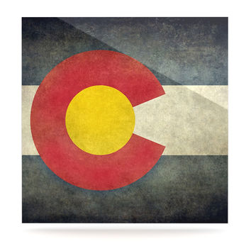 "Bruce Stanfield ""State Flag of Colorado"" Black Red Luxe Square Panel"