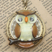 Steampunk  Owl 60401 Locket Necklace Vintage Style by sallydesign
