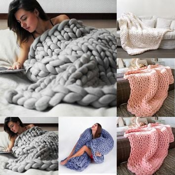 100*100cm/80*100cm Hand Chunky Knitted Blanket Thick Wool Bulky Knitting Throw living room or bedroom Great for Daily