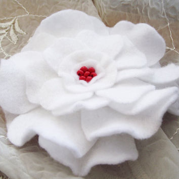White felt flower brooch big floral corsage pin felt summer women fashion europeanstreetteam accessories