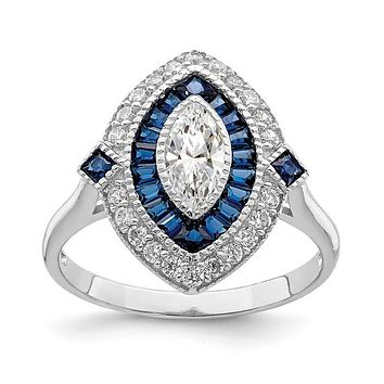 Sterling Silver Created Blue Spinel And CZ Marquise Halo Ring