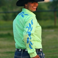 LIME RODEO SHIRT WITH COBALT BLUE FEATHERS