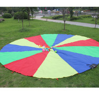 2m Kids Play Rainbow Parachute 8 Handles Outdoor Game Exercise Sport Toy Free Shipping