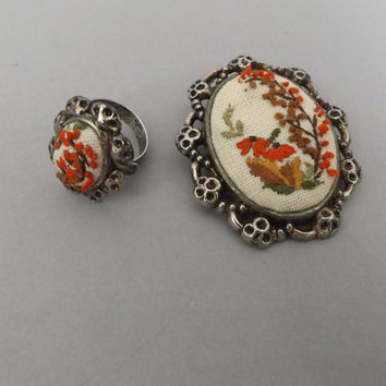 Vintage1970's Needlepoint Ring Brooch Pin Set Handmade Antique Ivory Floral Adjustable Unique Cocktail Ring Costume Jewelry Folk Victorian