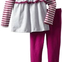 Calvin Klein Little Girls' Stripes Tunic with Leggings 4-6X, Deep Berry Stripe, 5