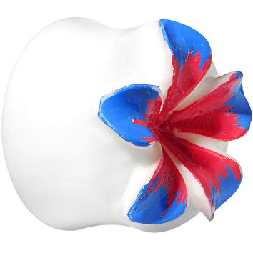 "3/4"" Organic Buffalo Bone Blue Pink Tropical Flower Saddle Plug"