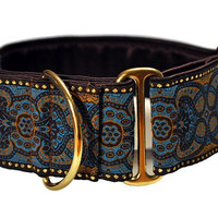 Martingale Collar: Blue Espresso Jacquard - 2 Inch, Greyhound Collar, Martingale Collar, Martingale Dog Collar, Custom Dog Collar