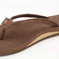 Rainbow Sandals Women Hemp Narrow Strap Single Layer, Brown, Medium (6.5-7.5)