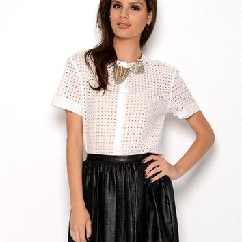 Pierre Balmain Cotton Laser Cut Button Up Blouse - Made in Italy - Pierre Balmain from $85: Just Arrived from Italy - Modnique.com
