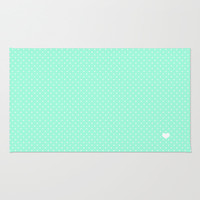 Mint Green and White Polka Dot Area & Throw Rug by Kat Mun | Society6