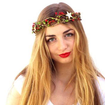 Christmas  crown, Red berries headpiece, Holiday hair wreath,  Green hair accessories, Winter Floral headband