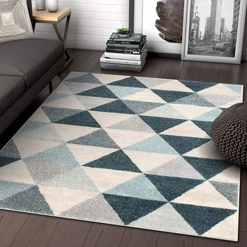 2901 Dark Blue Geometric Design Contemporary Area Rugs