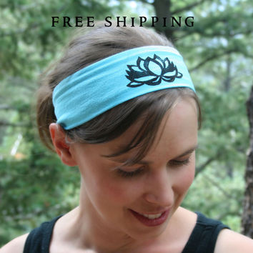 Lotus Flower Yoga Headband, Blue Lotus, Pink Lotus- Wide Hair Accessory, Hot Yoga Headband, Yogi Wear, Yoga Symbol Yoga Headband wrap