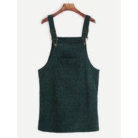 Corduroy Overall Dress With Pocket Green