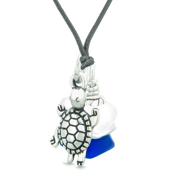 Sea Glass Icy Frosted Waves Lucky Turtle Ocean Blue White Positive Energy Amulet Adjustable Necklace