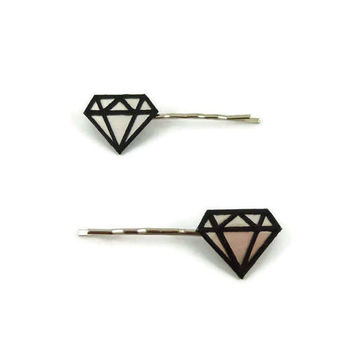 Set of 2 iridescent and black graphic diamonds hair clips, modern and graphic fancy hair pins, plastic gems hair clips (recycled CD)