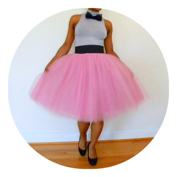 Tutu Cute Skirt - Mid-Length  (Rose & Other Colors Tulle Skirt with Elastic Waistband)
