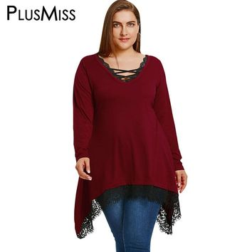 PlusMiss Plus Size 5XL Loose Lace Crochet Trim Long Blouse Shirt Women Clothing Long Sleeve Lace Up V Neck Tunic Tops Big Size