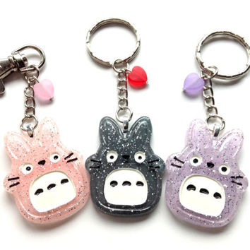 My neighbor Totoro Keychain, Anime Love Keychain, Kawaii Gift, Anime Bag Charm, Totoro Studio Ghibli Japan, Geekery, Valentines Cute Keyring