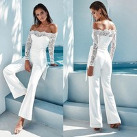 Summer Jumpsuits Women High Quality Lace Patchwork Sexy Party Jumpsuit Rompers Ladies Bodysuits F2