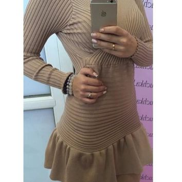 Apricot Plain Ruffle V-neck Long Sleeve Mini Dress