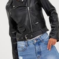 Polie Black PU Biker Jacket
