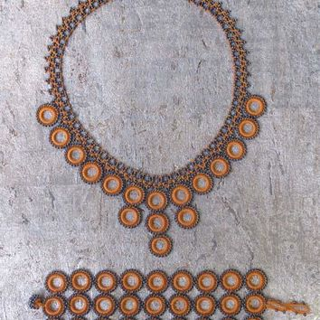 Apricot Loop Crochet Necklace & Bracelet Set