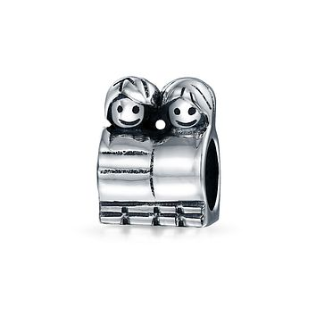 BFF Brother Sister Family Charm Bead Sterling Silver European Bracelet