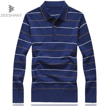 ZEESHANT 8XL Sweater 3 Buttons Design Stripe Pattern Slim Fit Long Sleeve Cotton Men Plus Size Sweater Pullover 6XL 7XL Homme