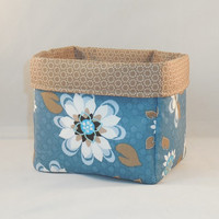 Blue And Tan Floral Fabric Basket For Storage Or Gift Giving