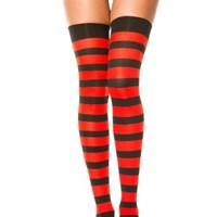 Thigh High Black & Red Wide Stripes by Music Legs - Buy Online Australia Tragic Beautiful