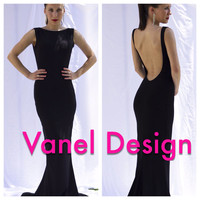Long black bridesmaid dress, cocktail dress, formal dress, elegant dress, prom dress, mermaid dress, peekaboo back, sexy dress, classy dress