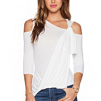 Summer New Fashion Solid Color Personality Top Women White