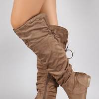 Wild Diva Lounge Slouchy Cutie Lace Up Flat Boots