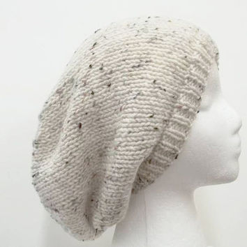 Slouchy beanie with marble Flecks for men or women 5113