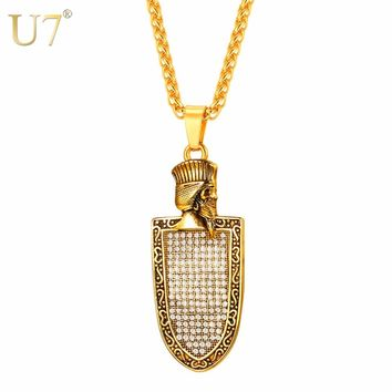 U7 Necklace Austrian Rhinestone The Faravahar Iranian Shield Stainless Steel Pendant & Chain Men Gifts Jewelry Necklaces P1145