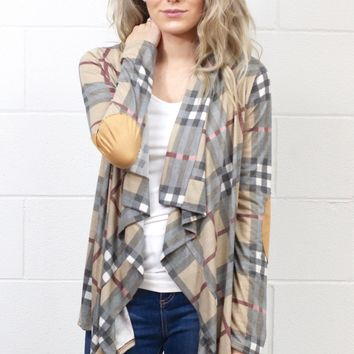 Waterfall Plaid + Suede Elbow Patch Cardigan {Mocha Mix}