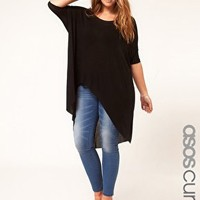 ASOS CURVE Jersey Top With Dip Back - Black $48.37