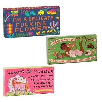 Blue Q Gum Three Pack - Mighty Michelle, Delicate Fucking Flower and Always Be a Unicorn