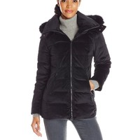 Trina Turk Women's Emma Velour Down Coat with Fur Trim, Black, 6